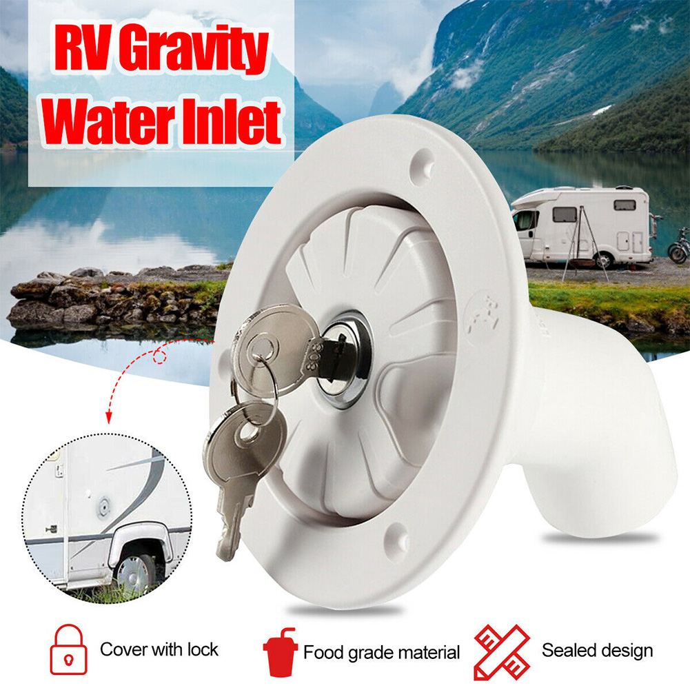 NEW RV Accessories Caravan Hatch Gravity Water Inlet With Lock Water Inlet Car With Water Cover White