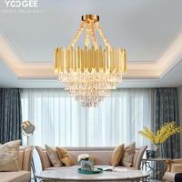 Modren Round Crystal Chandelier Lighting Lustre Cristal Living Room LED Chandeliers Kitchen Island Hanging Lamp Light Fixtures