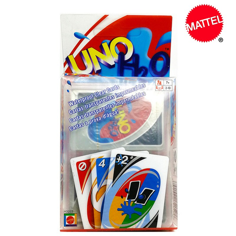 Mattel Games UNO H2O Карточная игра креативные прозрачные пластиковые Кристальные водонепроницаемые игральные карты Мытые детские игрушки