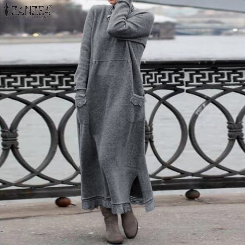 Fashion ZANZEA Women Long Sweatshirt Dress Autumn Long Sleeve Lace Patchwork Sundress Solid Vestido Robe Femme Winter Dresses