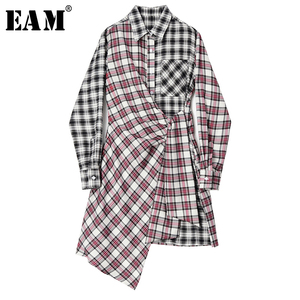 [EAM] Women Black Red Plaid Asymmetrical Shirt Dress New Lapel Long Sleeve Loose Fit Fashion Tide Spring Autumn 2020 1S646
