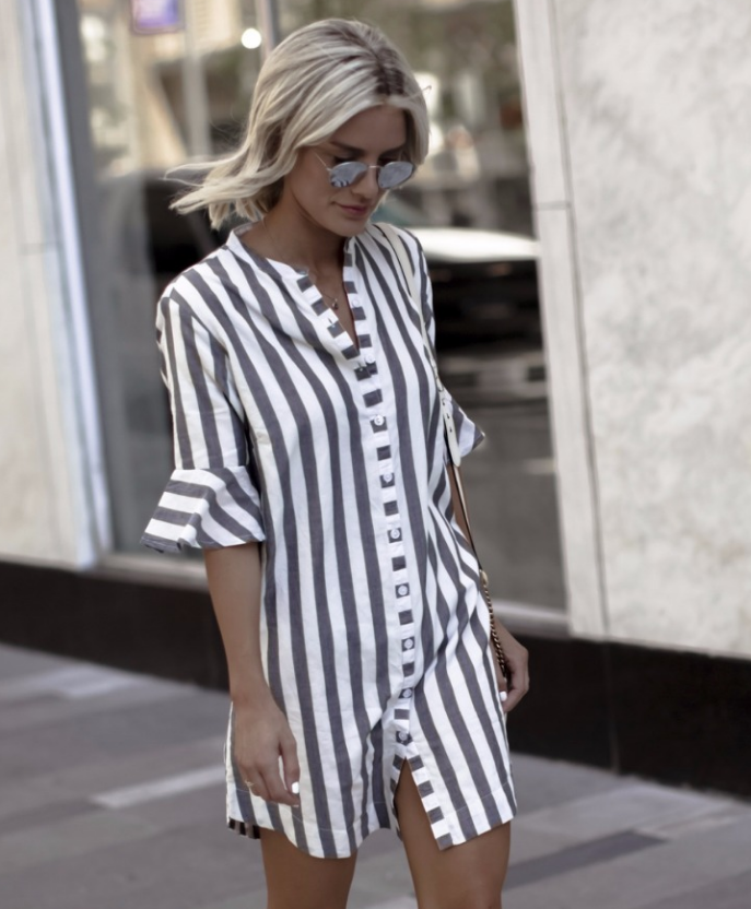 1color 4 Size Half Sleeve Elegant 2019 New Style High-Q Striped Hot Sale Blouse Tops Shirs Female Fashion Streetwear Work
