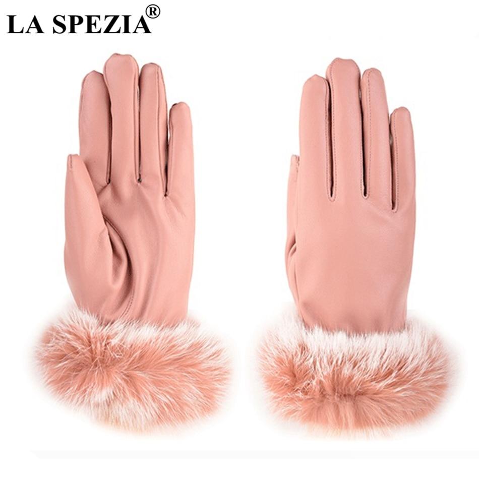LA SPEZIA Women Gloves Leather Rabbit Fur Gloves Ladies Driving Black Touch Screen Coral Velvet Winter Fleece Warm Mitten Female