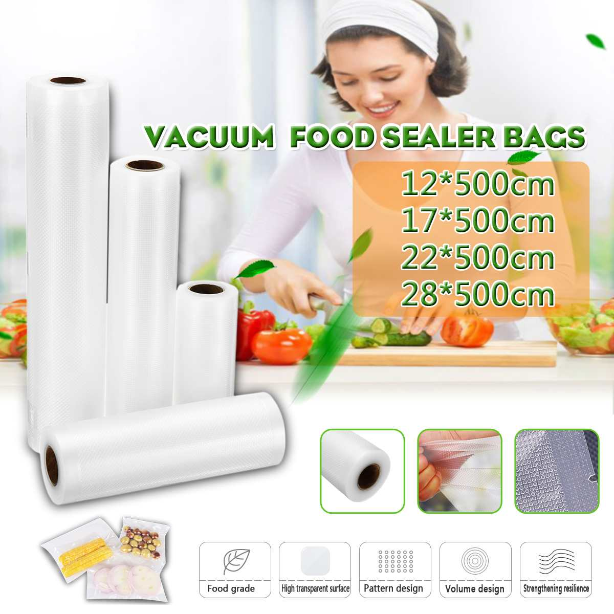 12/17/22/28cm X 500cm Rolls Food Vacuum Bag Seal For Vacuum Sealer Packaging Rolls Storage Bags Keep Food Fresh