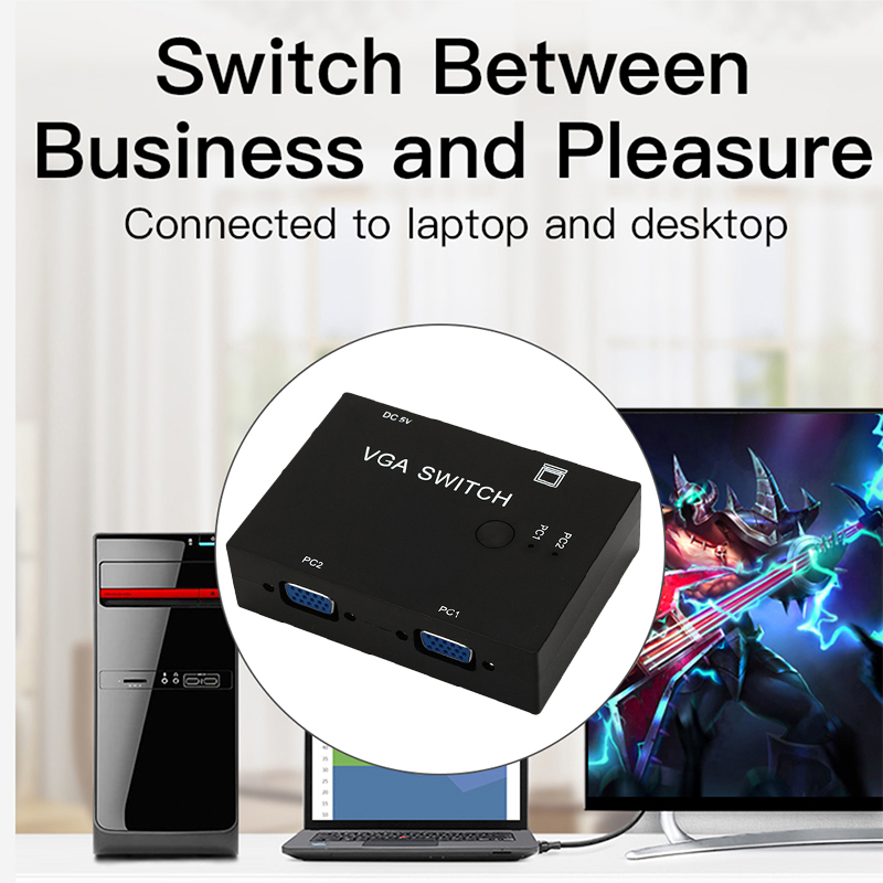 2-Port VGA Monitor Sharing Switch Box Video Selector 2 In 1 Out For HDTV PC Office FKU66