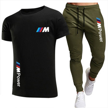 BMW new 2021 mens sports shirt suit T-shirt + pants two-piece casual sportswear printed top gym fitness pant