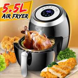 5.5L Electric Deep Air Fryer Multi-function Pan With Basket Health Chip Oil Free Oven Cooker LED Touch Screen Power Air Fryer