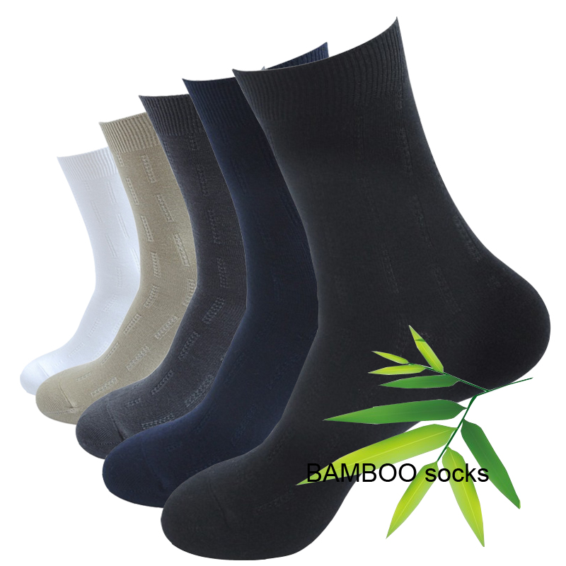 5 Pairs=10 Pcs Bamboo Fiber Casual Classic Solid Color Socks Business Anti-Bacterial Deodorant Breathable Wedding New Men's Sock
