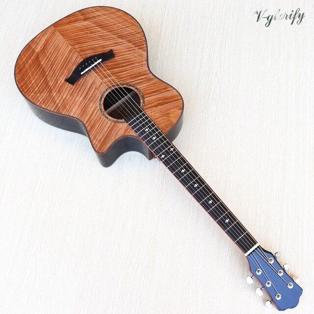 Di alta qualità di acero fiamma top spaccato design elettrico chitarra acustica di alta gloss 6 stringa chitarra folk con EQ funzione di sintonizzatore