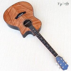 Image 1 - High grade flame maple topo corte design guitarra acústica elétrica de alto brilho 6 cordas folk guitarra com função sintonizador eq