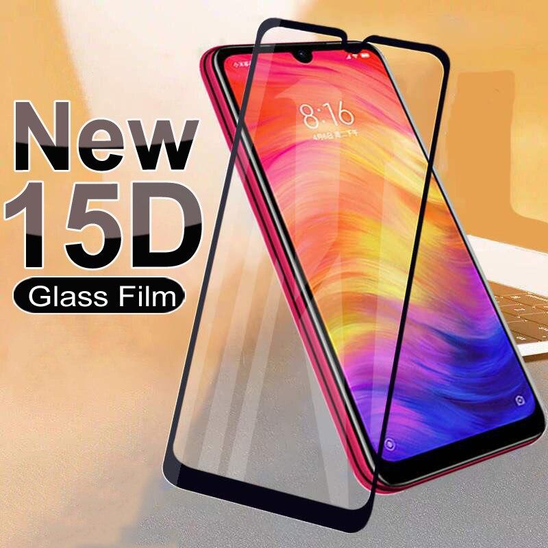 15D, vidrio Protector para Xiaomi Redmi 7 7A 8 8A 9 9A, Protector de pantalla templado, Redmi Note 7 8T 9S 9 Pro, película de vidrio de cobertura completa