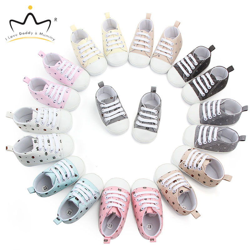 New Crown Print Baby Shoes Soft Cotton Non-slip Infat Toddler Shoes Boy Girl Sneakers Casual Shoes Boys Girls First Walkers