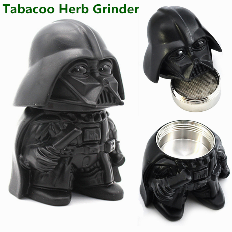 Darth Vader Tobacco Herb Grinder 35mm Metal Zinc Alloy Spice Crusher Smoke Grinders Star Wars Toy Figurine Office Desktop Decor