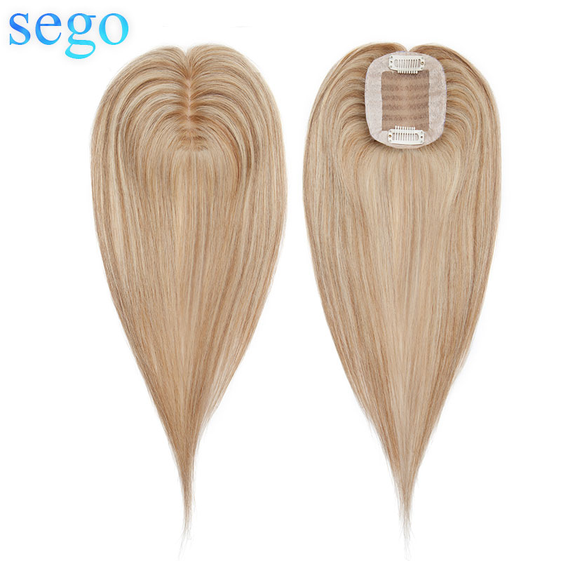 "SEGO 6""-20'' 6x9cm Straight Silk Base Hair Topper Real Human Hair Women Toupee Hair Replacement Non-Remy Black Blonde 13 Colors"