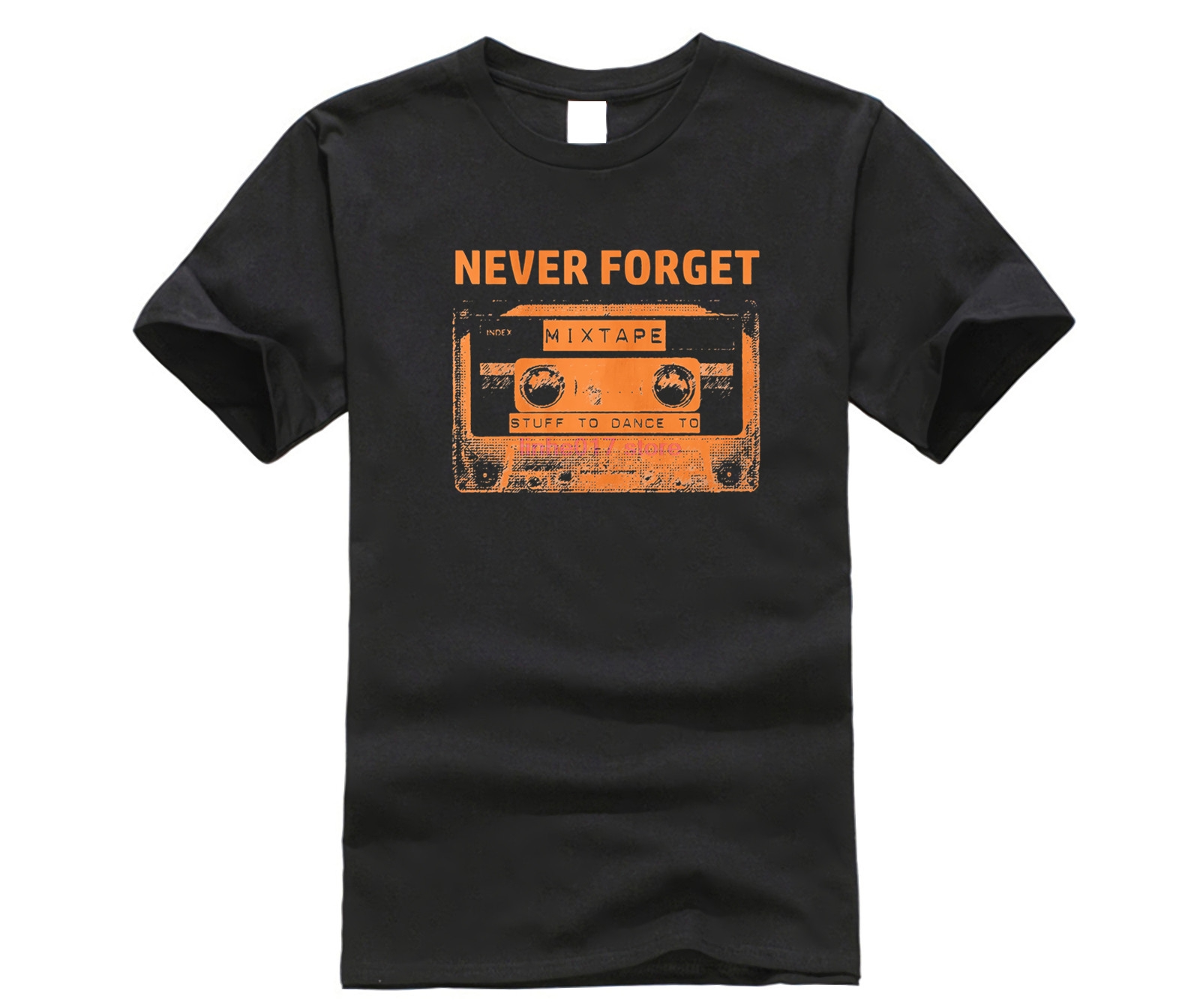 100% Cotton Print Mens Summer O-Neck Never Forget Cassette Tape T Shirt Old School 80S 90S Music Top Discocasual T Shirt image