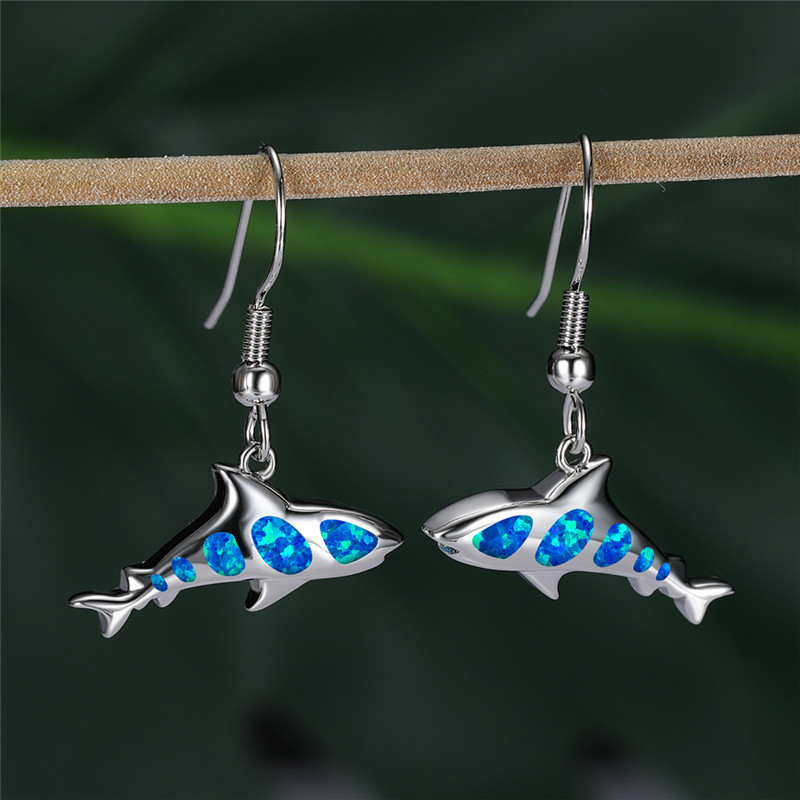 Creative Shark Drop Earrings For Women Animal Jewelry Blue Fire Opal Dangle Earrings Female Vintage Fashion Silver Color Earring