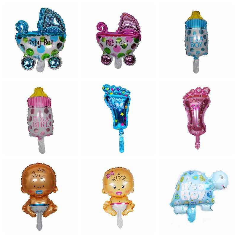 1pcs mini angel baby girls balloon baby shower baby Stroller foil balloon baby toys for party decoration inflatable air balloons