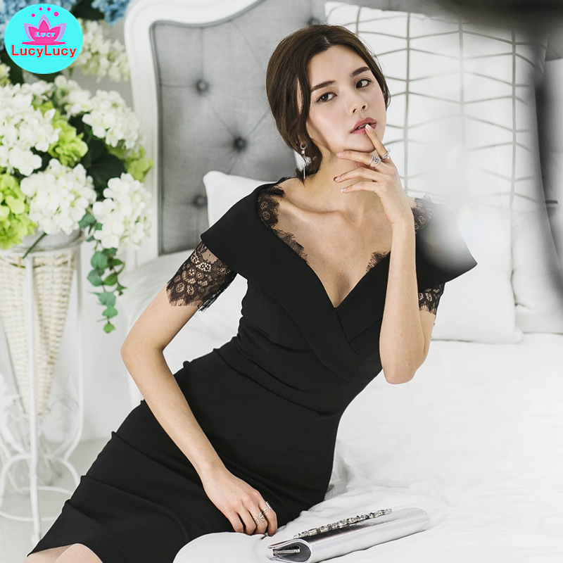 2019 summer new Korean style summer professional wear black lace Slim sexy bag hip dress Knee Length Lace Short in Dresses from Women 39 s Clothing