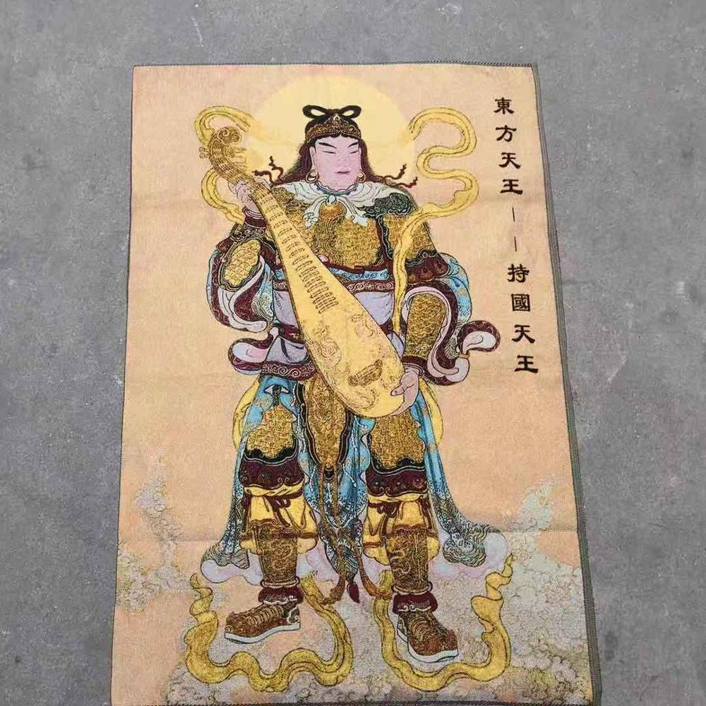 Buddhism protects the Dharma, worships the heaven, and the four heavenly kings embroider Thangka(China)
