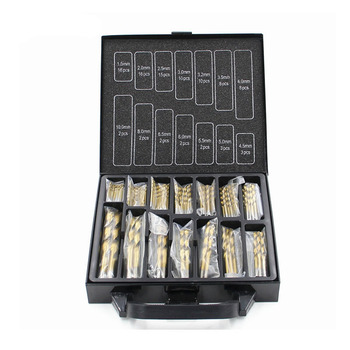 FGHGF 99pcs Top Quality 1.5-10mm Titanium Coated HSS Twist Drill Bits Set And Case Wood Drilling Metal Tool Kit Box