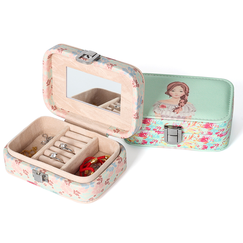 2020 Cartoon Beauty Universal Jewelry Case Display Travel Wedding Ring Earings Box With Mirror Portable Button Leather Storage