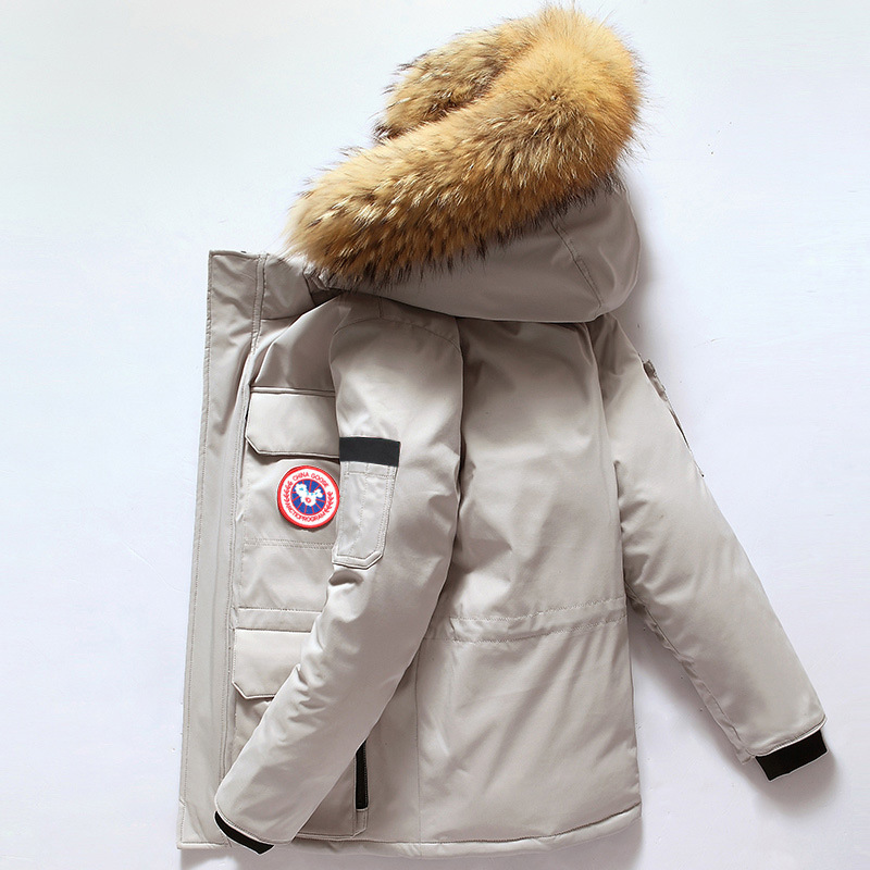 Winter Down Jacket Men Short Fashion Handsome Canada-Style Outdoor Workwear 2018 New Style Thick Goose Coat