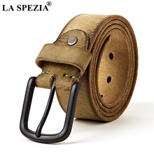 LA SPEZIA Genuine Leather Belt Male 100% Real Cowskin Men Buckle Coffee Black Camel Casual High Quality
