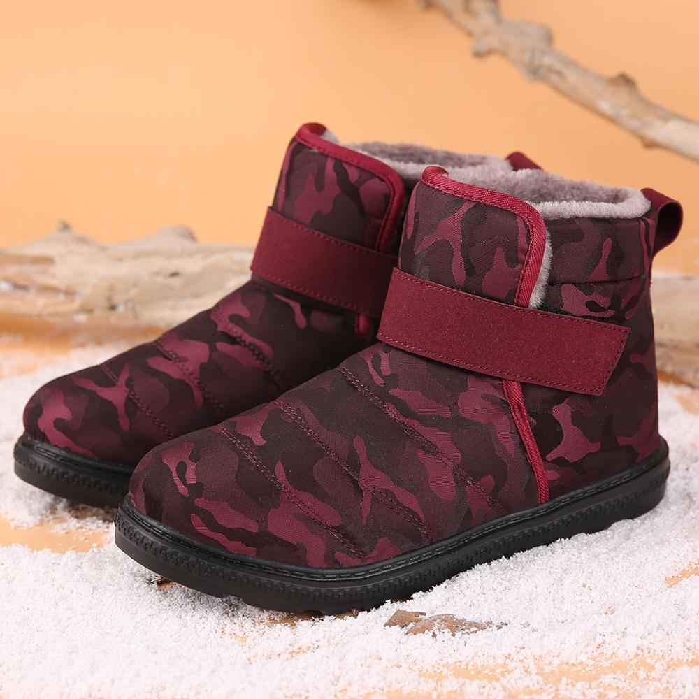 New Fashion Men Boots High Quality Waterproof Non-slip Women Ankle Snow Boots Shoes Warm Fur Plush Hook & Loop Man Winter Shoes