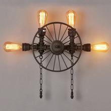 Retro American industrial vintage light balcony restaurant bar wall lamp iron wheel water pipe wall light sconce