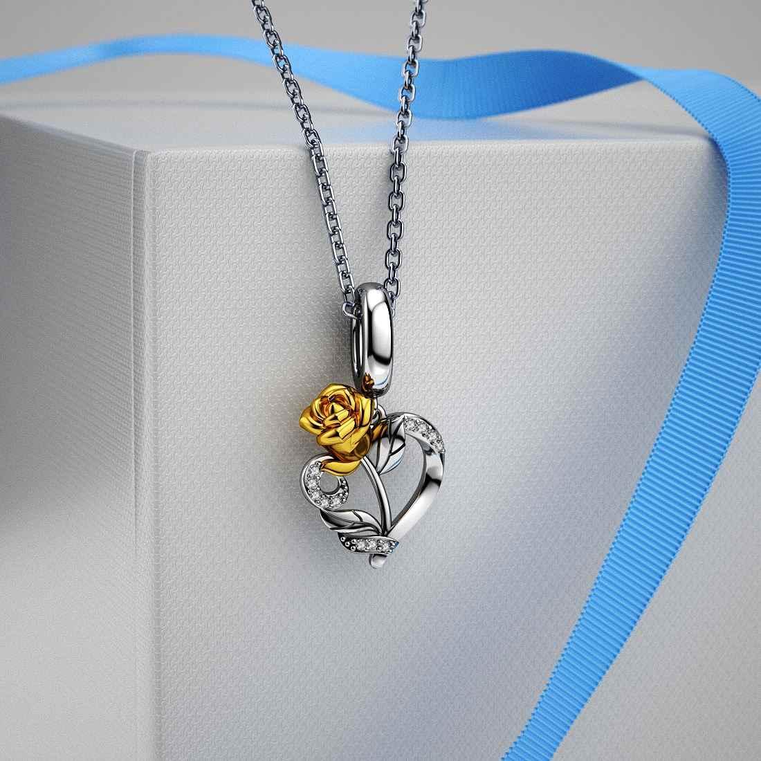 Jiayiqi רומנטי עלה פרחים 925 סטרלינג כסף קסמי חרוזים Fit פנדורה קסמי כסף 925 מקורי Valentine's Day תכשיטים