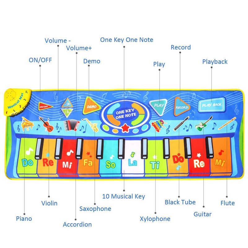 البيانات الضفدع حجم كبير متعددة الوظائف الطفل الرقص بطانية الموسيقى لوحة مفاتيح البيانو الرقص حصيرة Playmat ألعاب تعليمية للأطفال هدايا