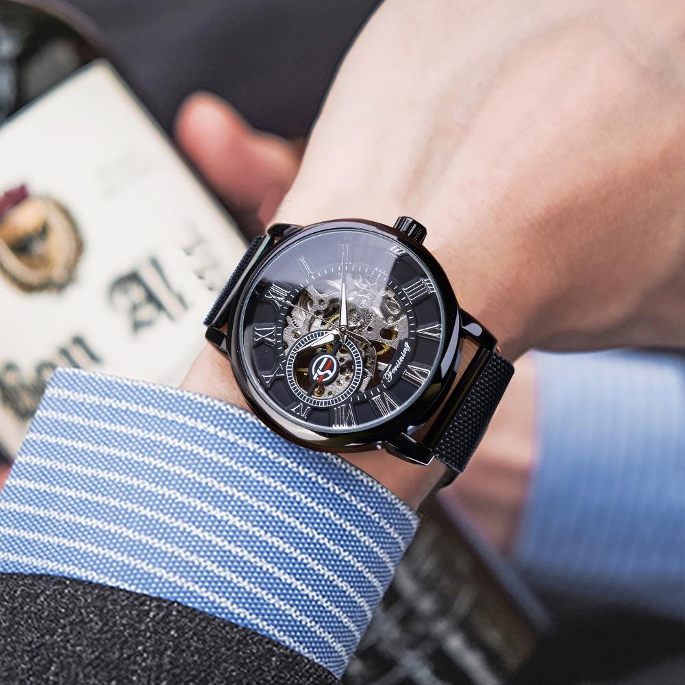 Hd07bdc09b7e04f7e853e7efaa02b6e65m Forsining Retro Fashion Design Skeleton Sport Mechanical Watch Luminous Hands Transparent Mesh Bracelet For Men Top Brand Luxury