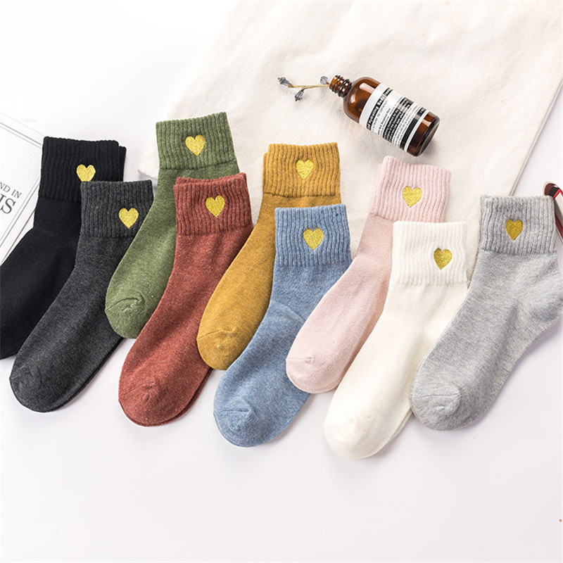 Socks For Women Autumn Winter Warm Short Sock Embroidery Heart Harajuku Female Casual Socks Ladies Funny Sox Mujuer Meias