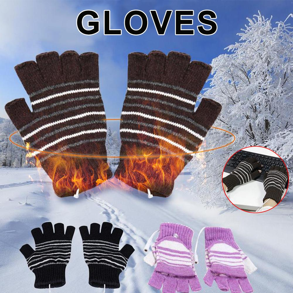 Heated Half Finger Gloves USB  Washable Fingerless Winter Knitted Gloves