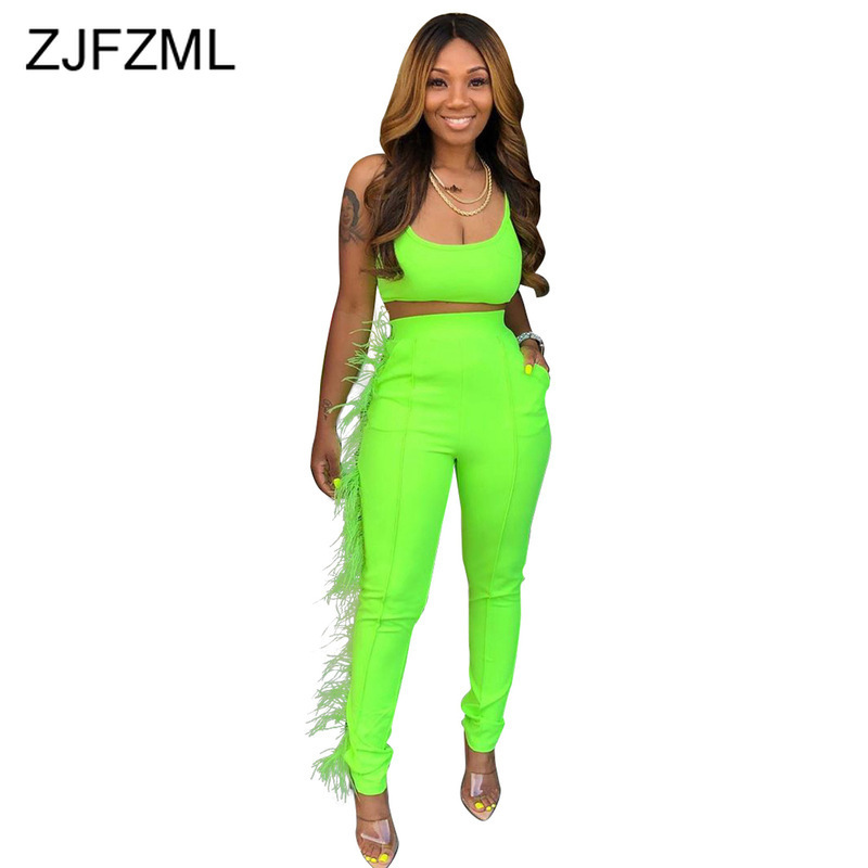 Neon Green Feather Spliced Two Piece Set Women Spaghetti Strap Backless Crop Top And  Bodycon Pants Sweatsuits 2Pcs Club Outfits