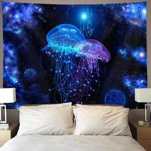 Art Tapestry Wall-Hanging Jellyfish Cosmic Under-Sea-Ocean Galaxy
