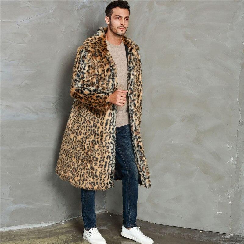 Lanshifei 2019 Winter Blazer Fur Long Section Men Fur Coat Men's Business Casual Leather Jacket Fleece Warm Thick Fake Fur Coat