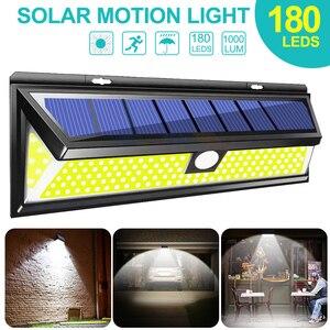 Image 1 - 1/2/4 قطعة 180 مصباح LED بالطاقة الشمسيّة محس حركة ضوء COB 3 طرق في الهواء الطلق حديقة ساحة مقاوم للماء توفير الطاقة مسار الشمسية الجدار مصباح