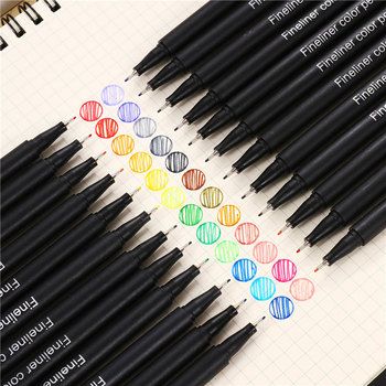 цена на 12/24/36/48/60 Fineliner Color Pen Set Ink Colored 0.4mm Liner Brush Micron for Caligraphy Graffiti Art Marker Pen Drawing Black