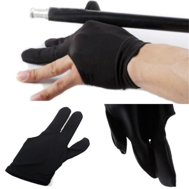 5 Pcs/Set Professional 3 Finger Nylon Billiard Anti Slip Gloves Snooker Pool Cue Shooters Gloves Black