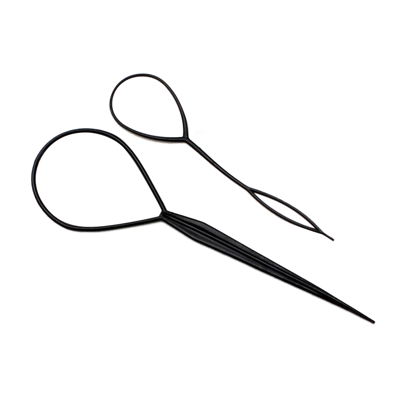 2Pcs=1Pair Popular Hair Braid Tail Styling Ponytail Creator Plastic Loop Styling Tools Black Pony Tail Clip Styling Tools