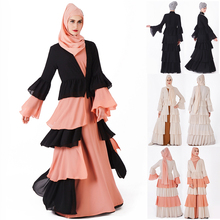 Muslim Dress Women Dubai Abaya Cake Shape Black Orange Robe Long Sleeve Cardigan Kaftan Elegant Islamic Maxi Dresses Clothes