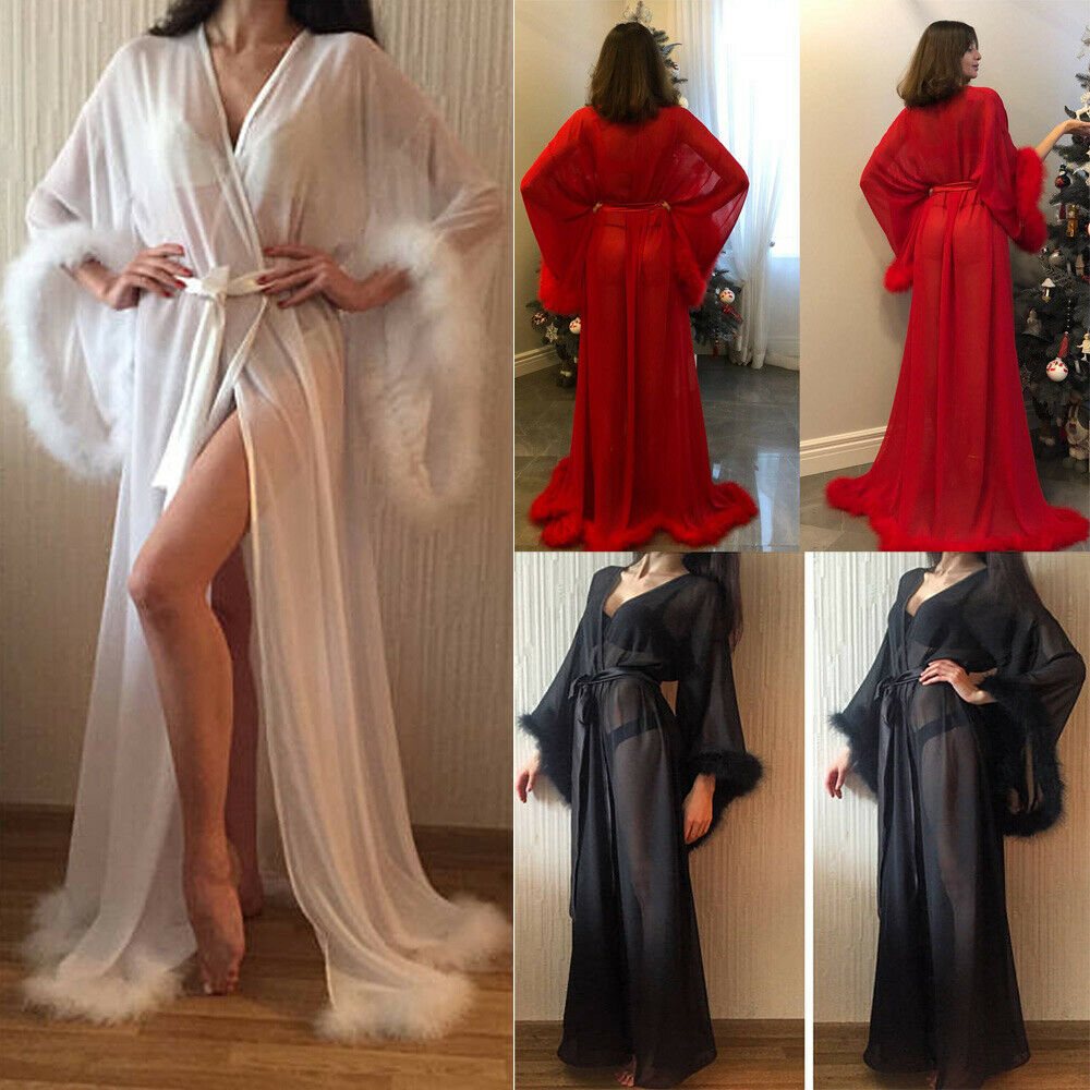 Illusion Long Lingerie Robe Nightgown Bathrobe Sleepwear Feather Bridal Robe In Stock