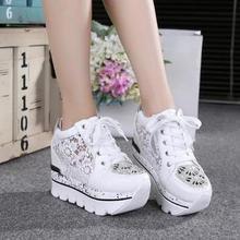 Womens Summer Lace Rhinestones Hollow Platform Sneakers Wedge Hidden Heel Shoes
