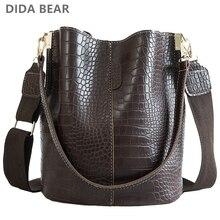 DIDA BEAR Крокодиловая сумка через плечо для женщин Сумка на ремне Марка Дизайнерские женские сумки Роскошная искусственная кожаная сумка ведро Сумка сумка рюкзак женский сумка женская женские сумки