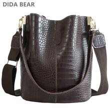 DIDA niedźwiedź krokodyl Crossbody torba dla kobiet torba na ramię marka projektant kobiet torby luksusowe PU skórzana torba torebka wiadro torebka