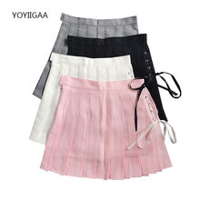 Lace Up Woman Pleated Skirts High Waist A-Line Female Mini Skirt Harajuku Zipper Ladies Dance Short Skirts Summer Woman Skirt
