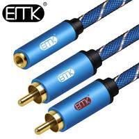 EMK 3,5 мм Женский стерео кабель AUX до 2 RCA аудио сплиттер кабель 3,5 мм до 2 RCA Мужской Y сплиттер для телефона планшета MP3 динамик