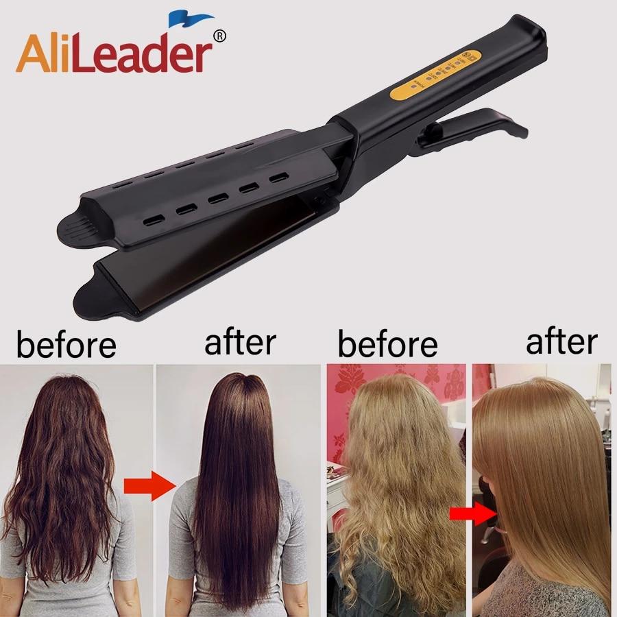 Alileader Cheaper Flat Iron Hair Straightener Electronic Steam Hair Straightening Irons Ceramic Vapor Salon Hair Straightner