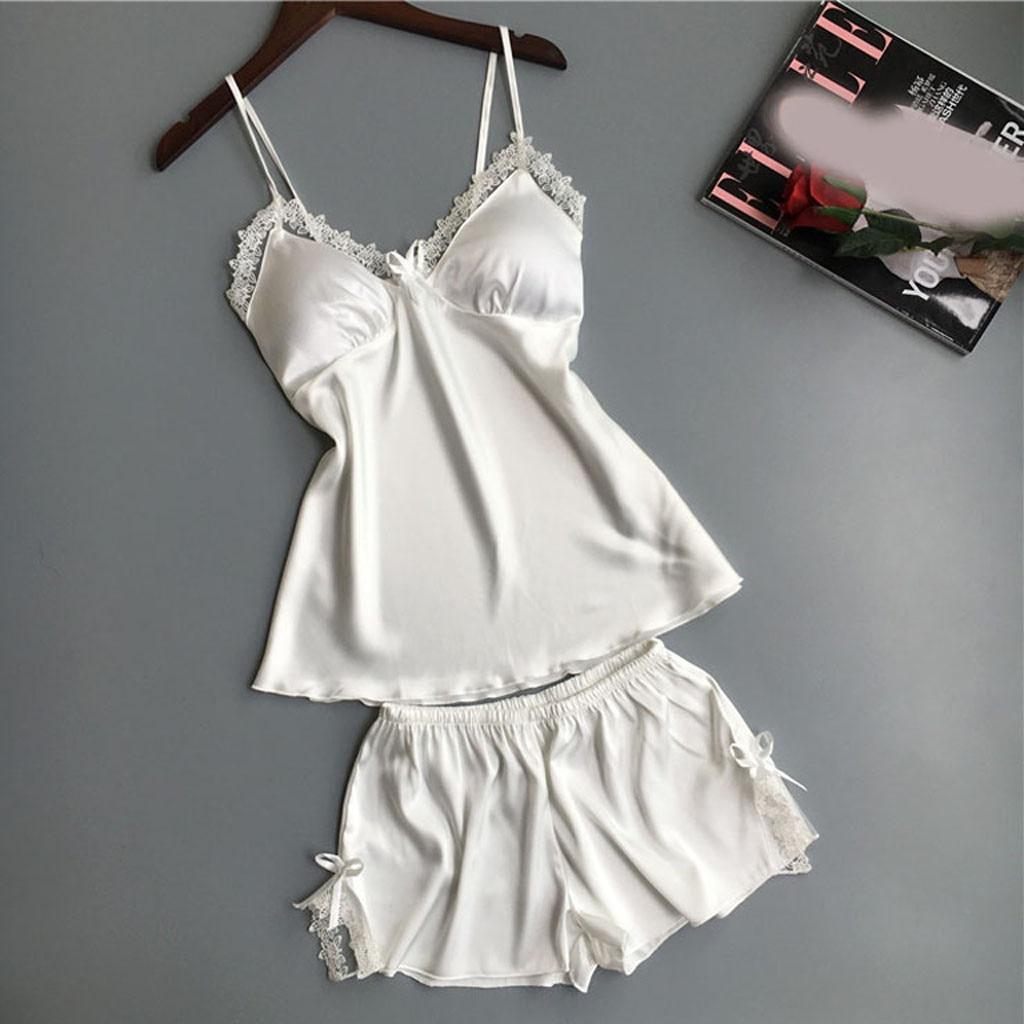Women Pajamas Set Sexy Solid Color Satin Cami Shorts Set Casual Ladies Homewear Nightwear Sleepwear Pijamas Mujer Top + Satin@5
